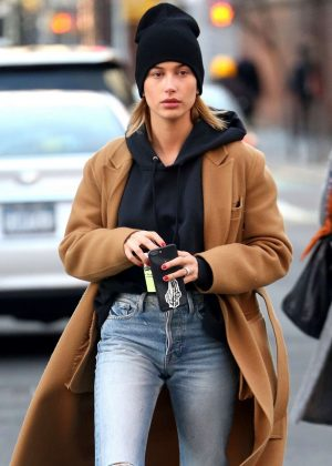 Hailey Baldwin in Long Coat and Jeans out in New York