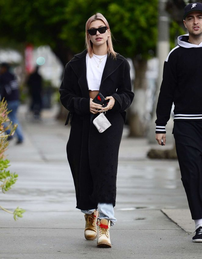 Hailey Baldwin in Long Coat - Out in Los Angeles
