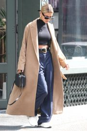 Hailey Baldwin in Long Coat - Out in New York