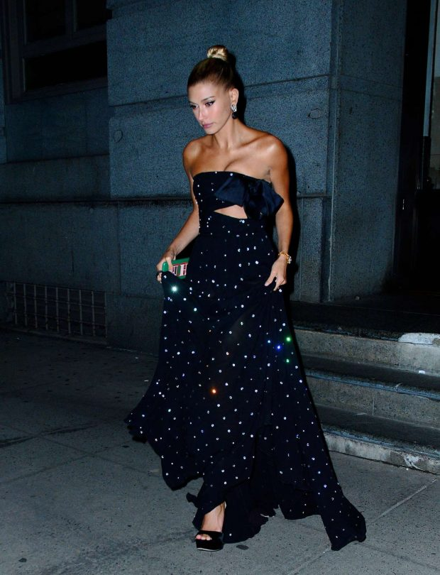 Hailey Baldwin in Long Dress - Out for dinner in New York