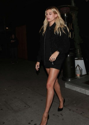 Hailey Baldwin in Mini Dress at the Nice Guy in West Hollywood