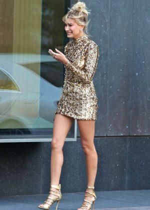 Hailey Baldwin in Mini Dress Leaving her hotel in Toronto