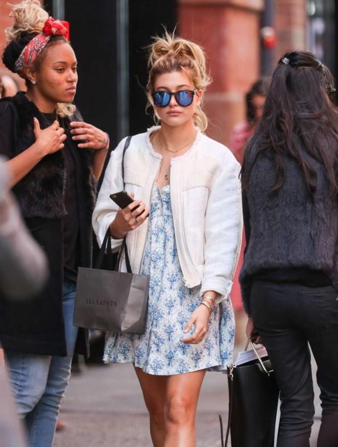 Hailey Baldwin in Mini Dress out in NYC
