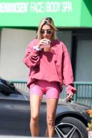 Hailey Baldwin in Pink Shorts - Out in Los Angeles