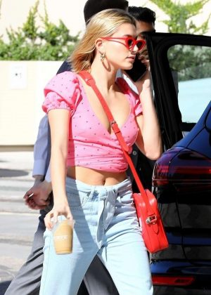 Hailey Baldwin in Pink T-Shirt out in Beverly Hills