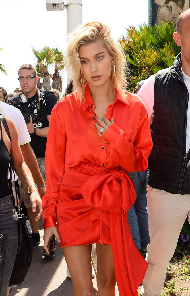 Hailey Baldwin in Red at the Martinez Hotel in Cannes
