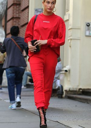 Hailey Baldwin in Red Outfit out in Soho