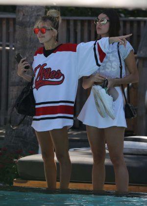 Hailey Baldwin in Red Swimsit 2016 -47