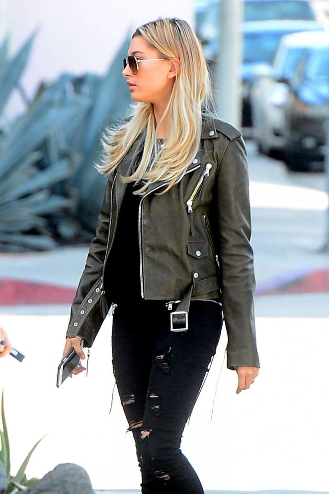 Hailey Baldwin in Ripped Jeans out in LA