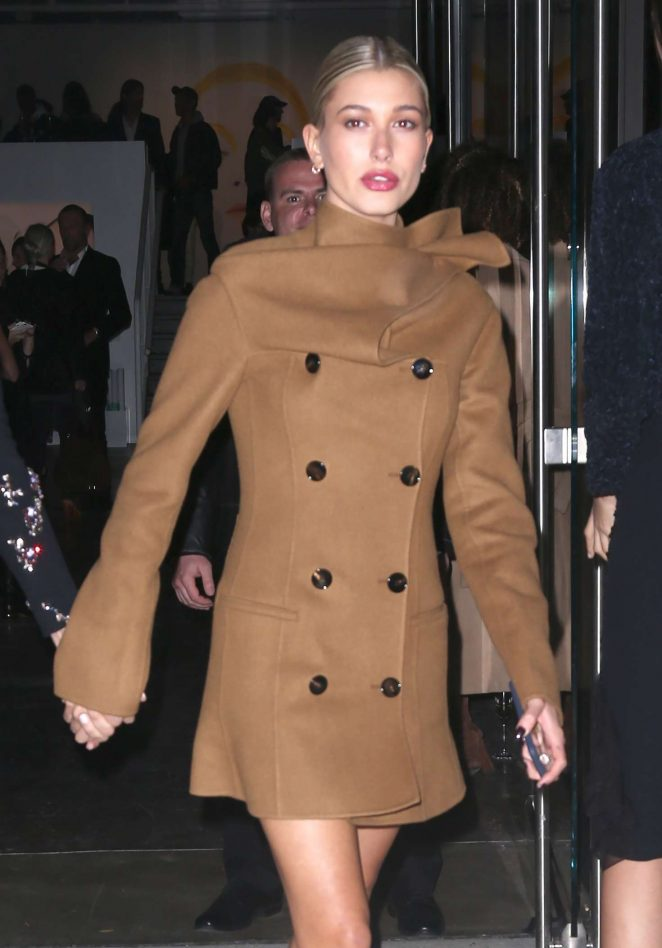Hailey Baldwin in Short Coat out in New York