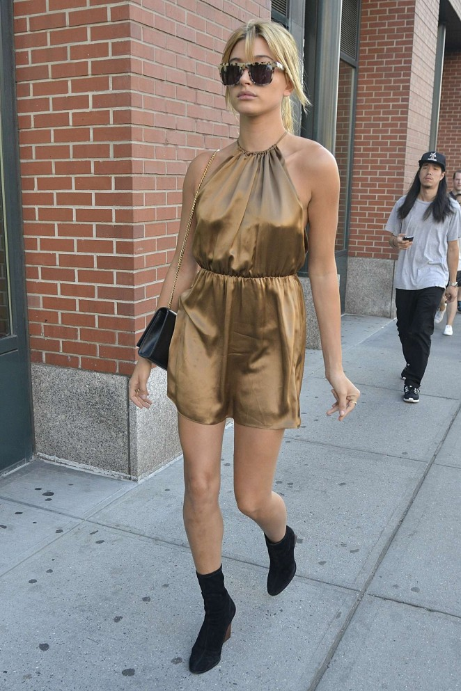 Hailey Baldwin in Short Dress Out in NYC