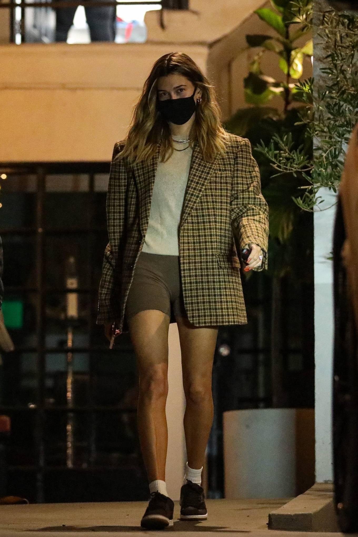 Hailey Baldwin - In shorts leaving a salon in Beverly Hills