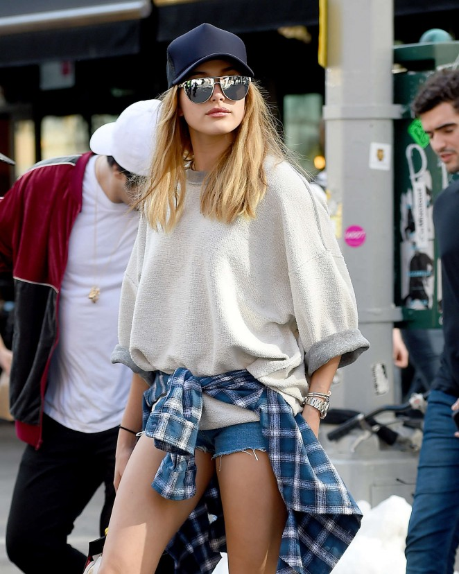 Hailey Baldwin in Shorts out in New York