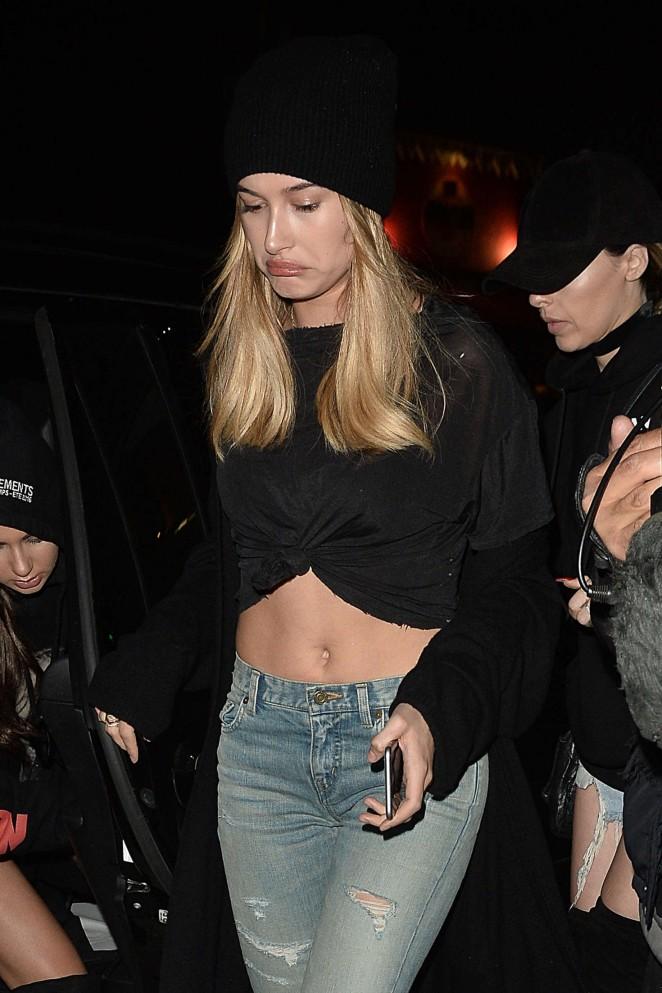 Hailey Baldwin in Skinny Jeans at Nice Guy in Los Angeles