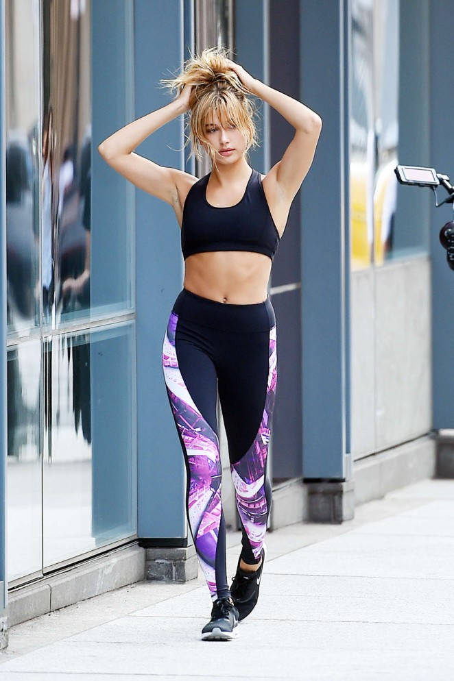 Hailey Baldwin in Tights on a photoshoot in NYC