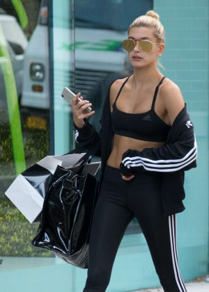 Hailey Baldwin in Tights Out and about in Soho