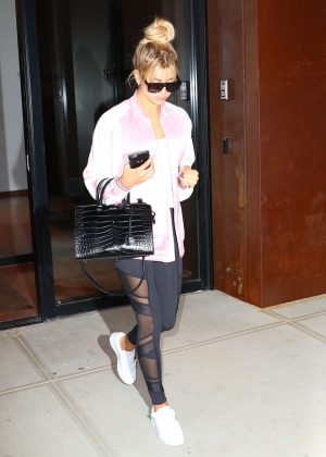 Hailey Baldwin in Tights out in New York