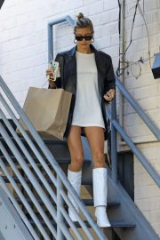 Hailey Baldwin in White Boots - Leaving a business meeting in Beverly Hills