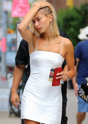 Hailey Baldwin in White Mini Dress - Out in New York City