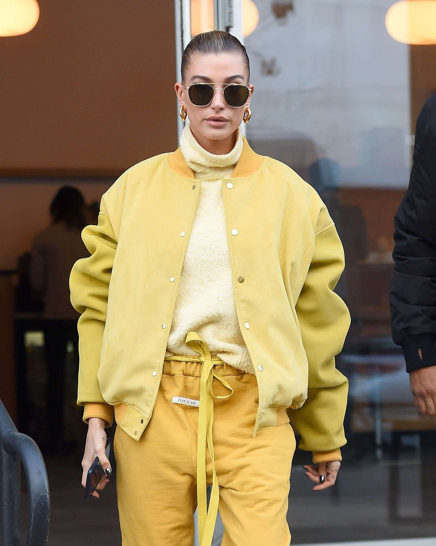 Hailey Baldwin in Yellow - Out and about in New York