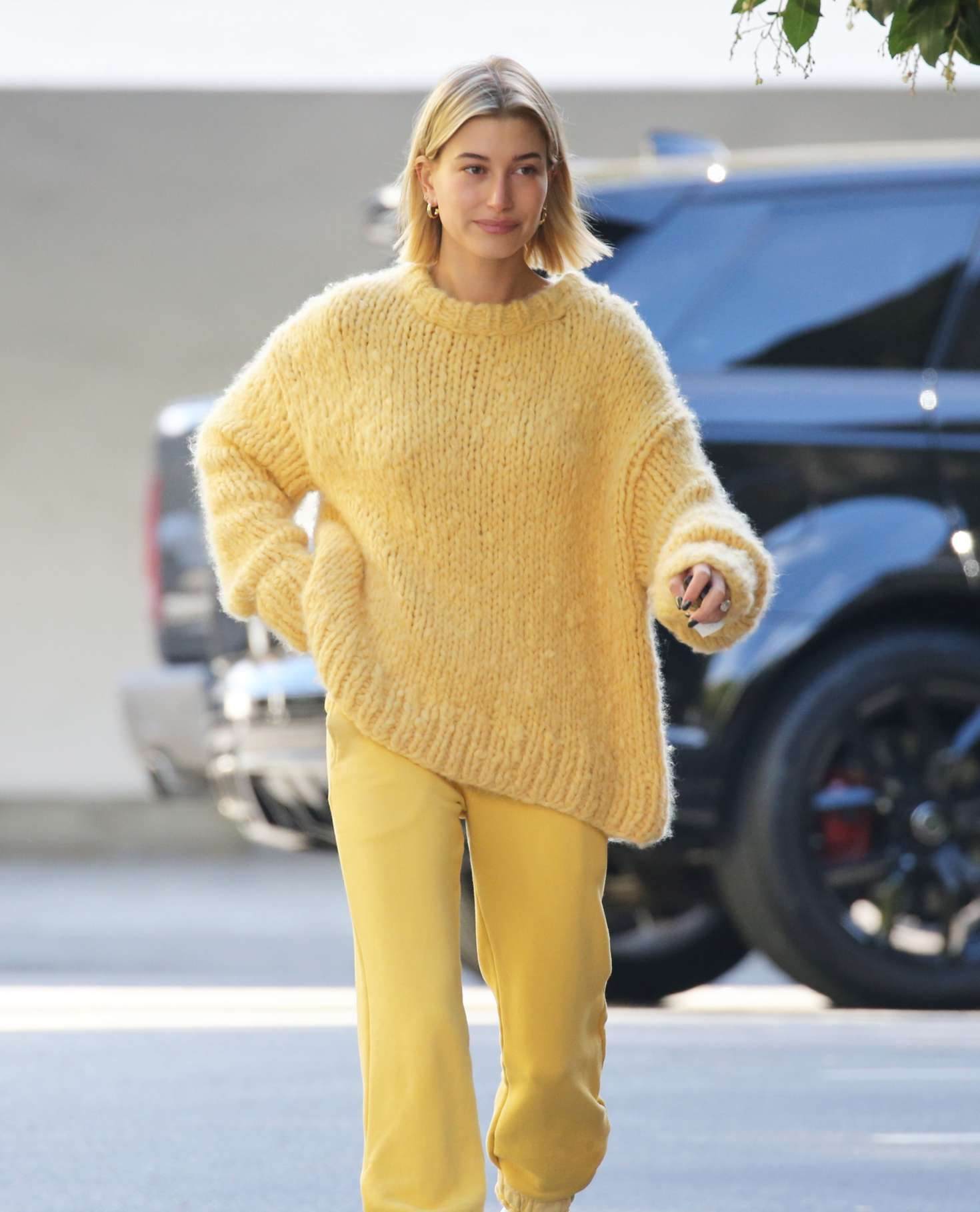 Hailey Baldwin in Yellow Outfit - Out in Beverly Hills