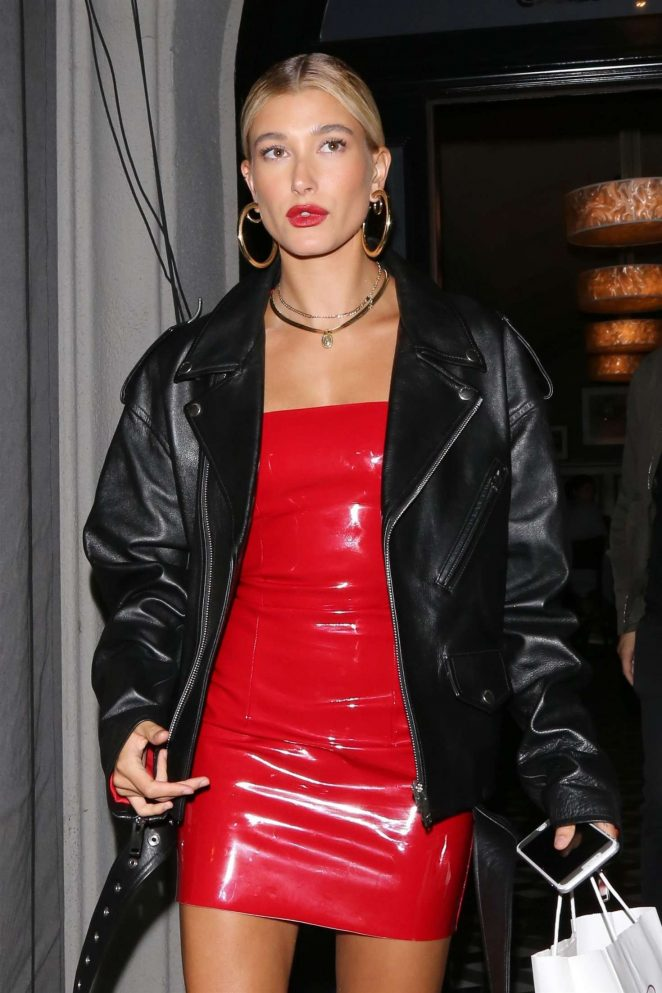 Hailey Baldwin is Red Dress at Craig's in Los Angeles