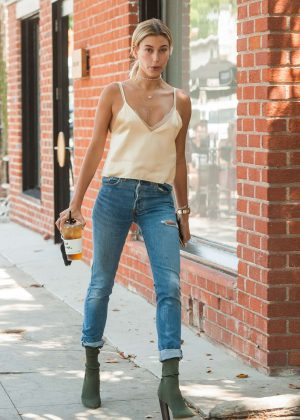 Hailey Baldwin Leaving Alfred Coffee in West Hollywood