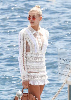 Hailey Baldwin Leaving Eden Roc in Cannes