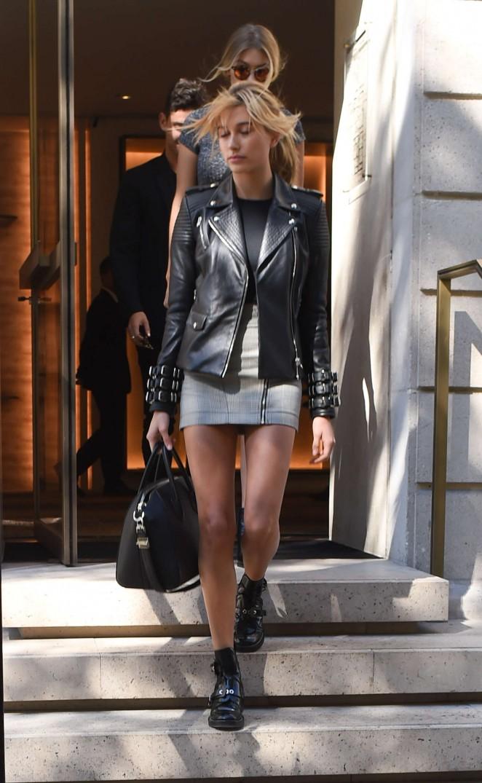 Hailey Baldwin in Short Skirt -01