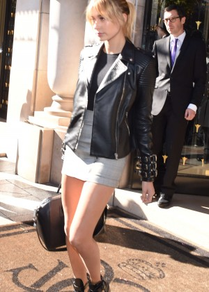 Hailey Baldwin in Short Skirt  Leaving her Hotel in Paris