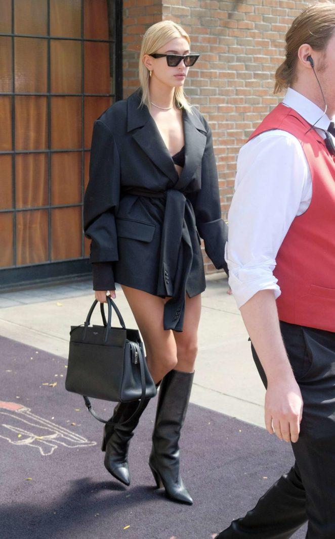 Hailey Baldwin – Leggy out in New York City
