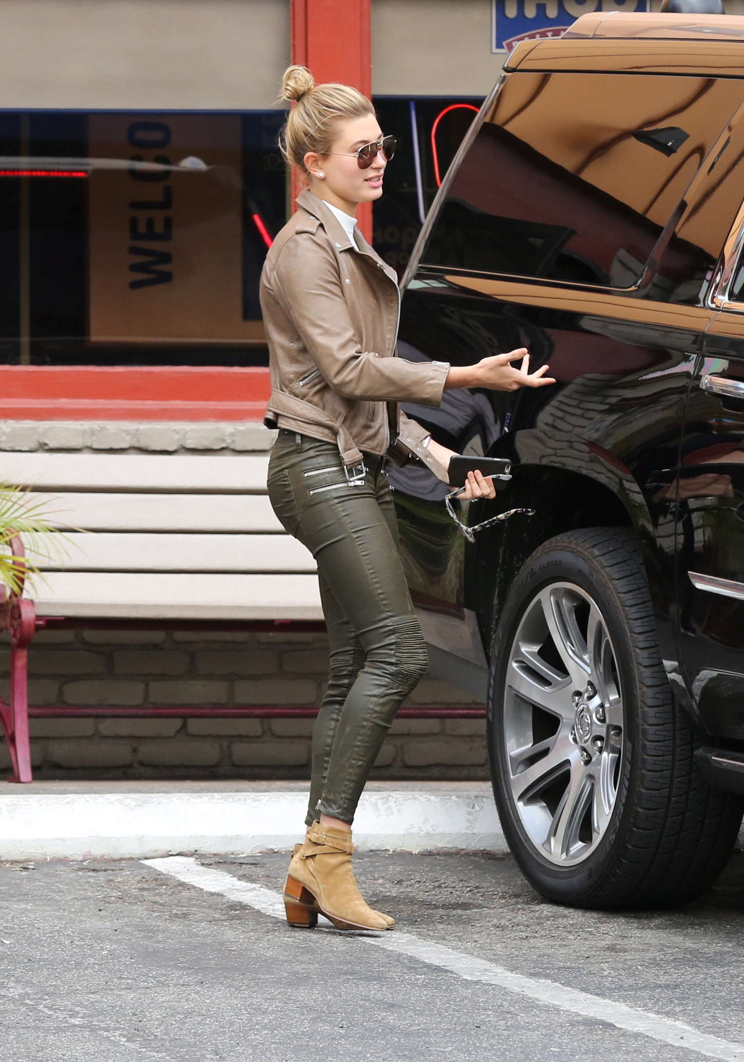 Hailey Baldwin In Leather Pants Out In La
