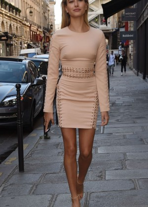 Hailey Baldwin in Mini Dress Out in Paris