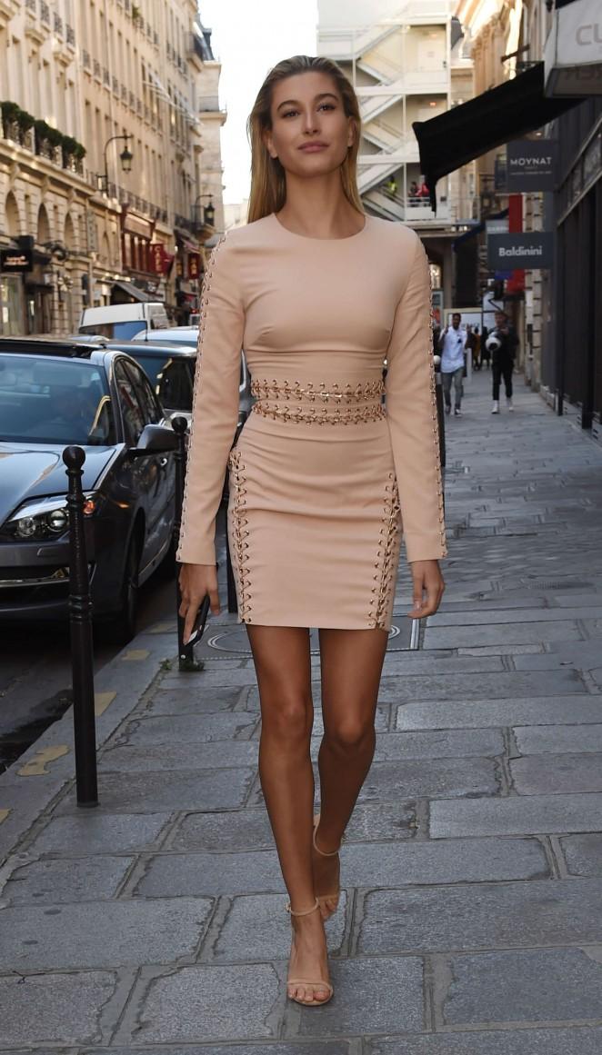 Hailey Baldwin in Mini Dress Out in Paris