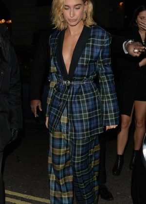 Hailey Baldwin - Outside Warner Music Brits After Party in London