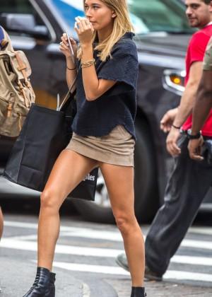 Hailey Baldwin in Short Skirt Shopping in NY