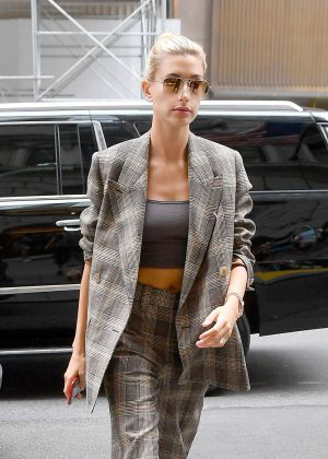 Hailey Baldwin - Wearing a plaid suit in New York