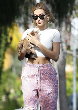 Hailey Baldwin with her new puppy in Hollywood