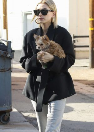 Hailey Baldwin with her new puppy Oscar at Alfred Tea Room in West Hollywood