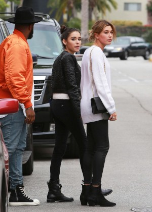Hailey Baldwin with Madison Beer at Sugarfish in Beverly Hills