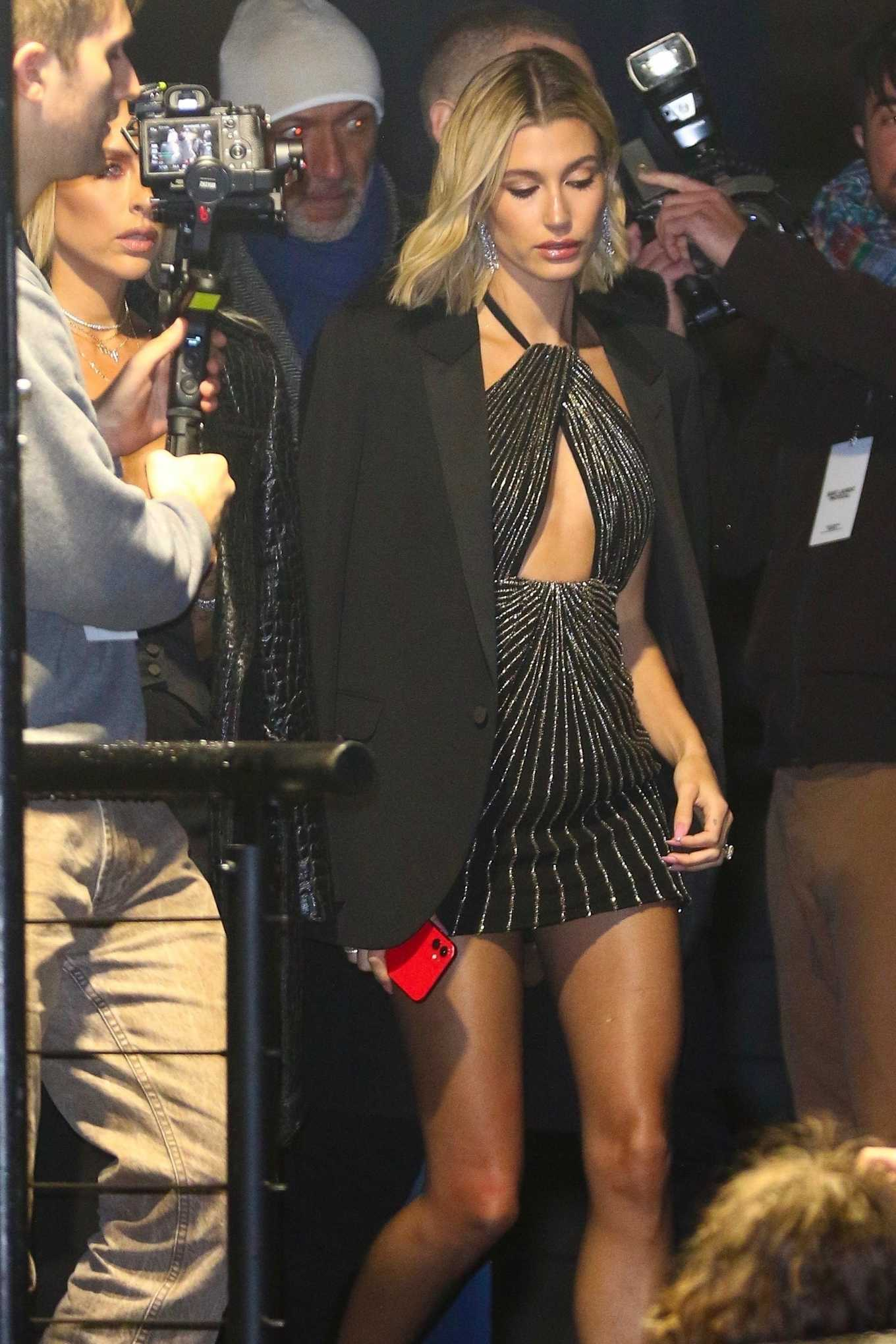 Hailey Bieber - Arriving at the YSL Show in Paris