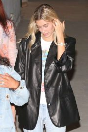 Hailey Bieber at night church service in Hollywood