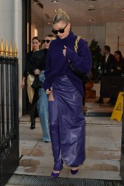 Hailey Bieber - Going out of the Balenciaga store in Paris