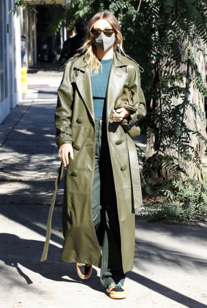 Hailey Bieber - In all green outfit in Los Angeles