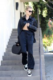 Hailey Bieber in Black Outfit - Out in West Hollywood