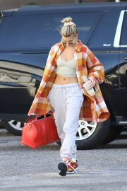 Hailey Bieber in Crop Top - Hits up the dance studio in West Hollywood