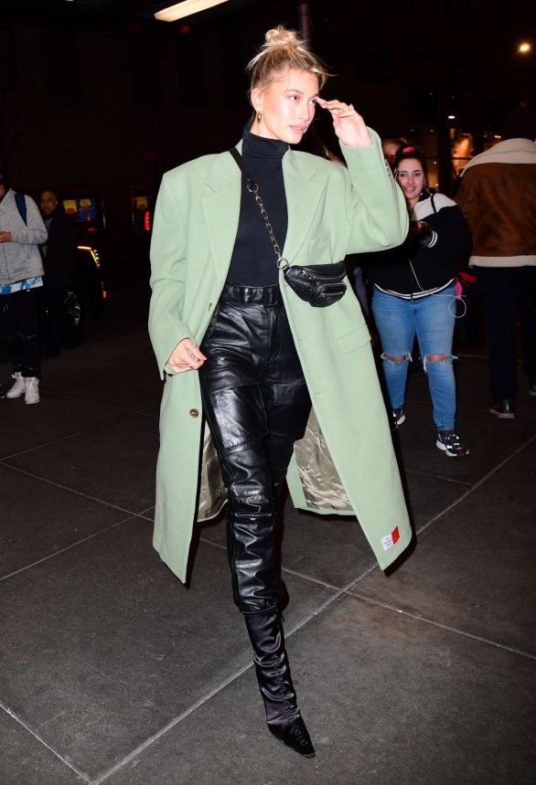 Hailey Bieber - In leather pants arrives at Saturday Night Live