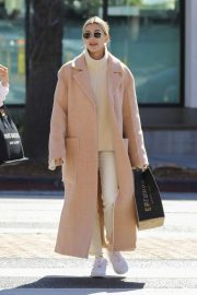 Hailey Bieber in Long Coat - Out in Los Angeles