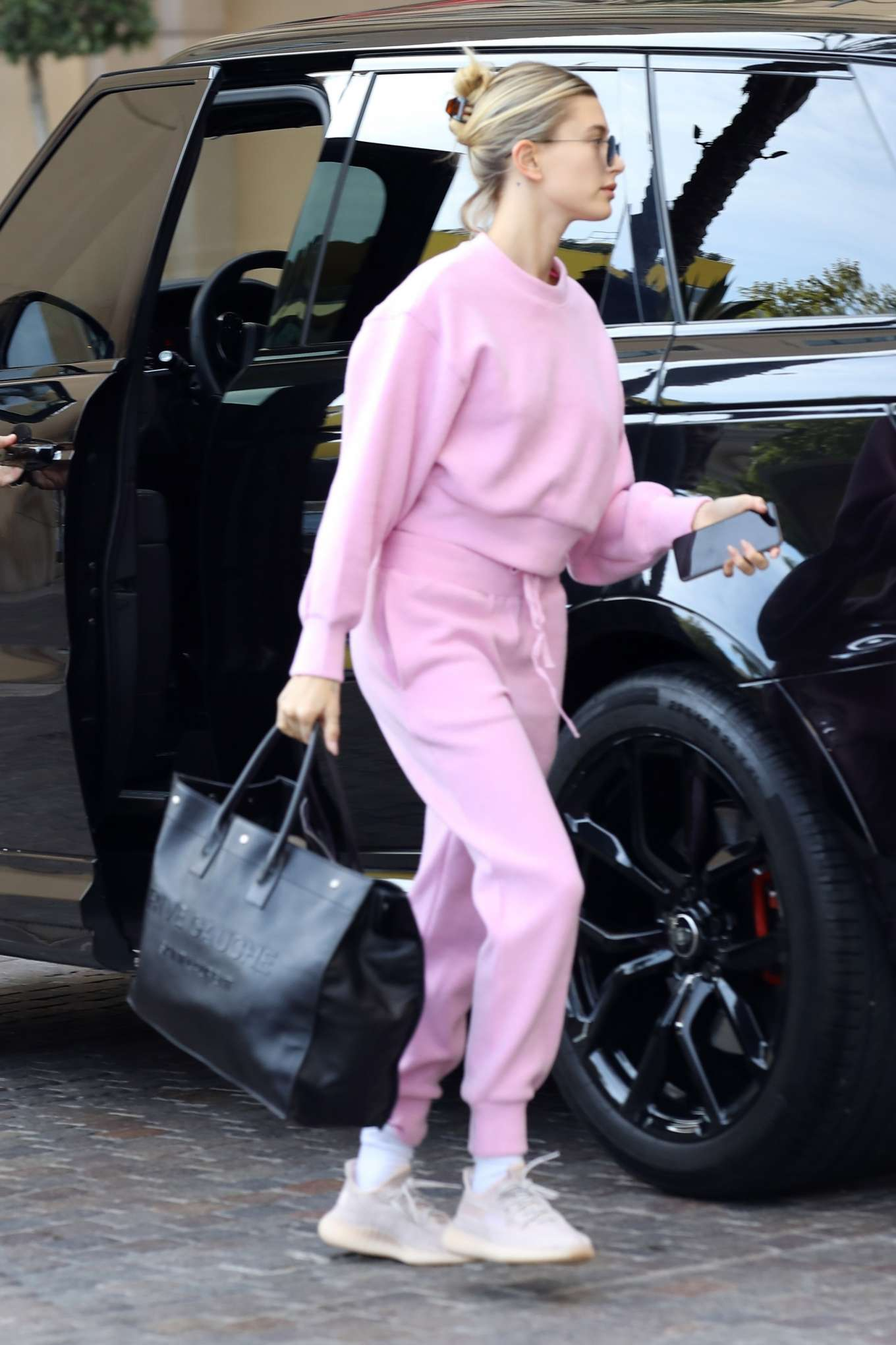 Hailey Bieber in Pink Sweatsuit - Steps out for a spa day in Beverly Hills