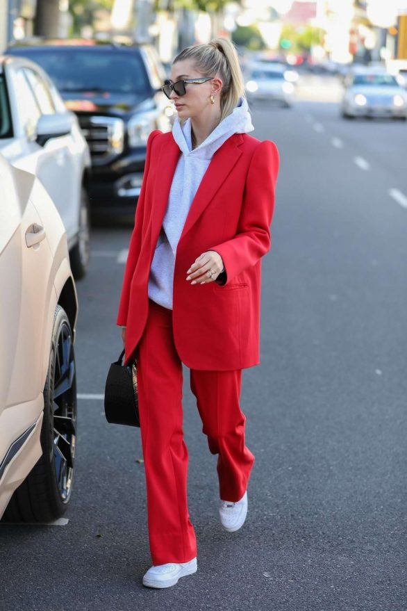 Hailey Bieber 2019 : Hailey Bieber in Red Suit – Out in Beverly Hills-01